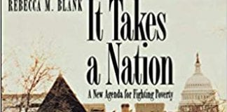 Book cover showing row house with US capitol dome in background and title It Takes a Nation: A New Agenda for Fighting Poverty
