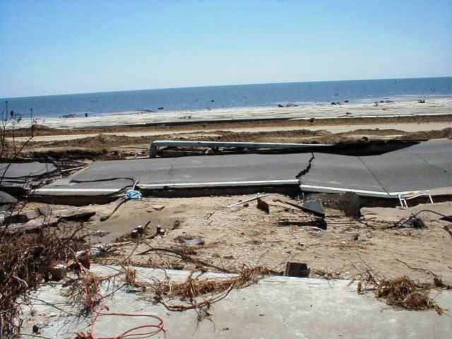 Photo shows a stretch of Highway 90 in Biloxi, Mississippi, on the Gulf Coast, broken into pieces by Hurricane Katrina.