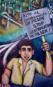 """An image that says """"Stop Gentrification in Pilsen."""""""