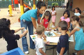 Photo shows a group of preschoolers taking part in an outdoor art project, with a teacher guiding them. Early childhood education