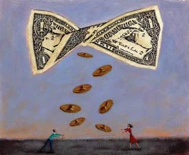illustration shows a twisted dollar bill floating in air, with pennies falling from it to two people on the ground; illustration accompanies an article on asset-building strategy.