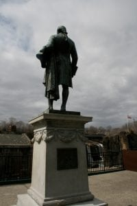 A statue of Alexander Hamilton stands near Paterson's Great Falls
