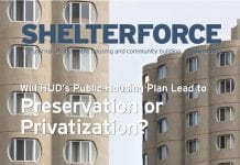 The cover of Shelterforce's 162nd issue, Preservation or Privatization.