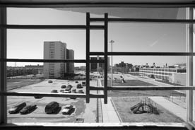 public housing: photo shows the view from an apartment at Cabrini Green