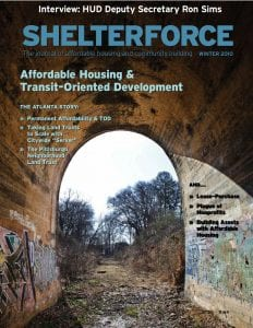 Photo shows the cover of Shelterforce issue #164, which covered transit-oriented development and affordable transportation