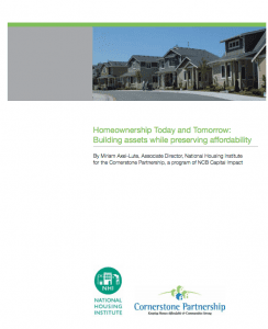 The cover of Homeownership Today and Tomorrow: Building assets while preserving affordability.