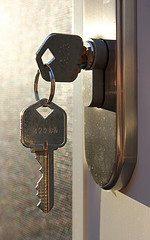 door key in lock