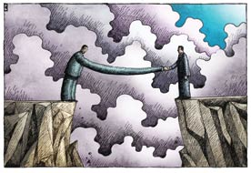 distressed mortgages: Illustration shows a person on a cliff reaching across crevasse to someone on the opposite side.