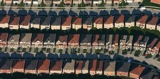aerial view of suburban development