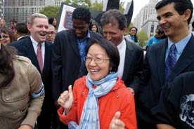 direct action governing. Photo shows NYC councimembers Brad Lander, Jumaane Williams, and Margaret Chin