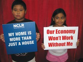 presidential candidates. Image shows children holding signs: 'our economy won't work without me'