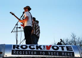 ACORN. Image shows musicians at a Rock the Vote event
