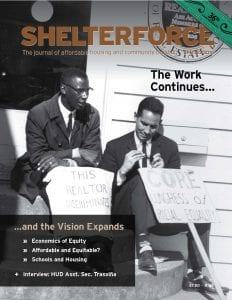 image is the cover of Shelterforce issue 165, accompanying editor's note