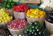 bushel baskets of fresh peppers, potatoes, squash, eggplant