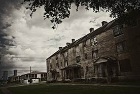Photo shows the C.J. Peete public housing in New Orleans.
