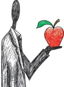 impact investing: illustration shows stylized image of man holding an apple