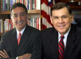 Shelterforce spoke with (from left) former HUD secretaries Henry Cisneros, who worked under President Clinton, and Mel Martinez, who worked under President Bush.