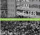Book cover show a black and white photo of people gathered in front of a high rise building
