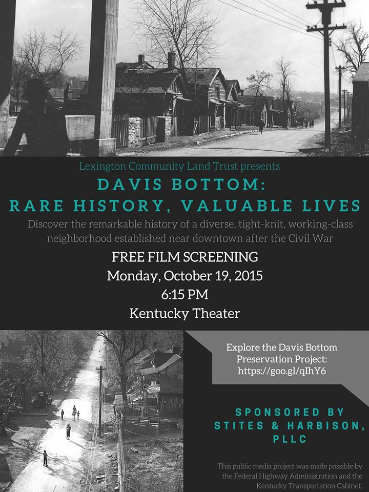"Poster for a film screening of ""Davis Bottom, Rare History, Valuable Lives,"" showing old black and white photos of the Davis Bottom neighborhood"