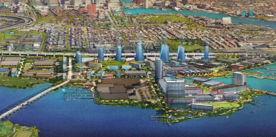 A rendering of what Port Covington would look like once the decades-long project is completed, for an article on community benefits agreements.