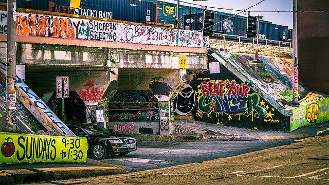 Krog Street Tunnel entrance, Atlanta, covered in paintings