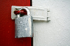 door locked with padlock