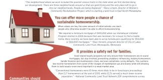 A drawing of a house with a red roof and a red path leading from door is accompanied by text explaining reasons why shared-equity homeownership makes sense in weak-market areas. Image links to pdf version.