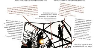 One-pager starts with Do inclusionary zoning requirements halt development? No! After a paragraph citing the research, there is an image of people back-lit on construction scaffolding, surrounded by quotes from public officials about how inclusionary measures have been good for their housing market. Image links to pdf version.