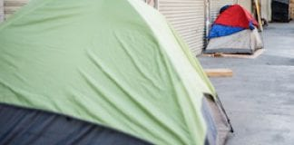 Tents line a Skid Row street in Los Angeles in 2015.
