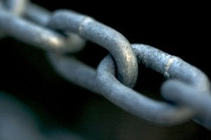 Close-up image of links in a chain.