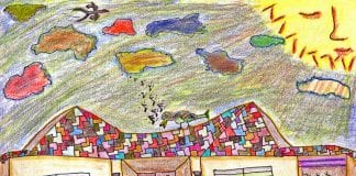 A Childlike drawing of a yellow house with a multicolored roof, cactuses in front, and a tree with Christmas lights in front.
