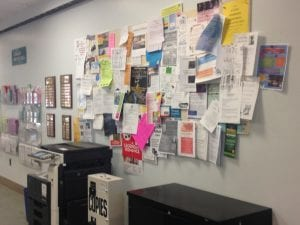 Bulletin board covered in flyers