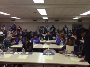 A room full of homecare workers, who gathered for the launch of a ballot initiative that aims to tie health and housing funding together.