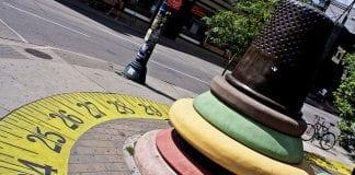 Painted measuring tape on street