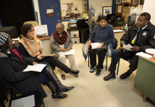 """A group of activists and community-based partners in Philadelphia discuss how to deal with a Mantua neighborhood hotspot and possibly solve the problem through a process called """"crime prevention through environmental design."""""""