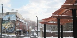 Snow-covered Downtown Chinatown in Philadelphia.