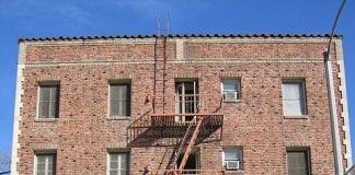 Brick apartment building
