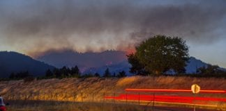 Smoke over California hills.