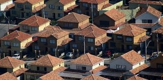 Aerial view of roofs