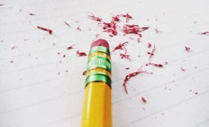 pencil with eraser shavings