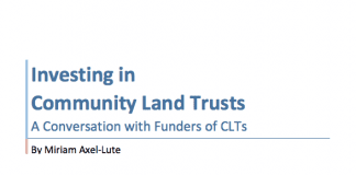The cover of Investing in Community Land Trusts: A Conversation with Funders of CLTs