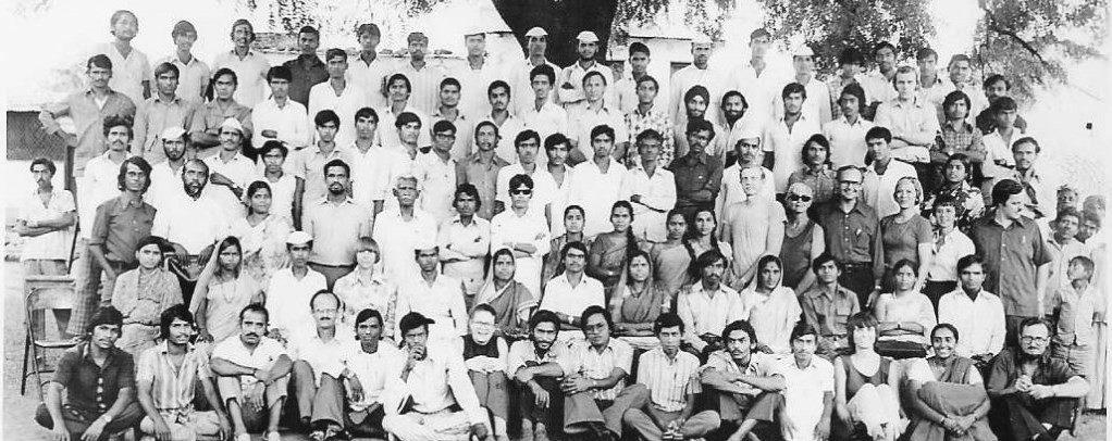 Large group photo, black and white.
