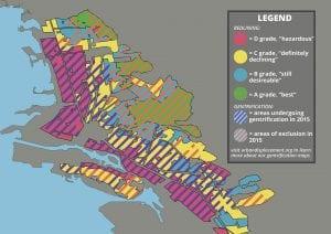 Map of Oakland highlighting redlining and gentrification.