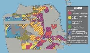 Map of San Francisco highlighting redlining and gentrification.