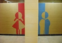 girl and boy symbols painted on a wall.