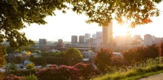The view of downtown Richmond, Virginia, as seen from Jefferson Park.