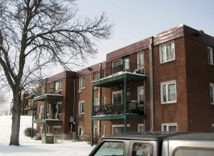 The exterior of the three-floor Rolling Hills Apartments in St. Paul, Minnesota.