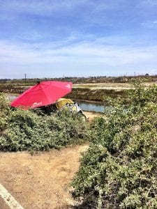 A red umbrella is part of a homeless encampment along the Santa Ana river trial in California.