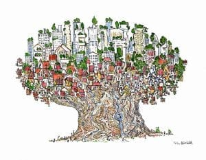 drawing of homes in a tree