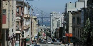 A San Francisco neighborhood with the Oakland Bay Bridge in the center.